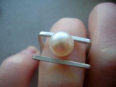 bague double carré en argent sterling avec blanc perle deau