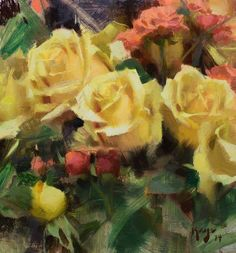 Good job, a perfect paintings of flowers Daniel Keys, Still Life Flowers, Oil Painting Techniques, Keys Art, Oil Painting Flowers, Still Life Art, Watercolor Rose, Beautiful Paintings, Yellow Flowers