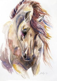 Colored Horse Art Print  Dramatic Posture, Composition, Color