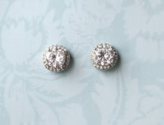 Vintage Style Button Earrings, Bridal Stud Earrings, Wedding Earring Studs, Rhinestone Button Earrings, 1920s Button Earrings - 'KIERA'