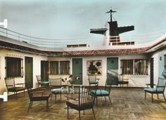 "The ill-advised Sun Deck First Class Patio - looking distressingly like a Nevada-based Route 66 motel - of the France of the Compagnie Générale Transatlantique/The French Line. 1962. Seventeen years hence, this rectangular ""well"" would conveniently become the ""socket"" into which the Sun Deck Pool was snugly fitted when the vessel was converted into the Norway of the Norwegian Caribbean Line (NCL). Image courtesy the private collection of John Cunard-Shutter."