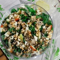 Yum! Barley & Lentil Salad with Kale, Apples, Almonds, & Feta from Cookspiration by DietitiansCAN