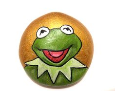 Kermit the Frog stone/paperweight by Ludibund on Etsy, $12.00