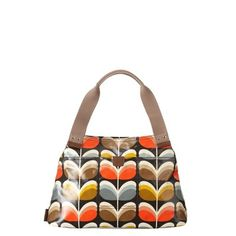 Orla Kiely : Shiny laminate shoulder bag with blue grey scribble print cotton lining.