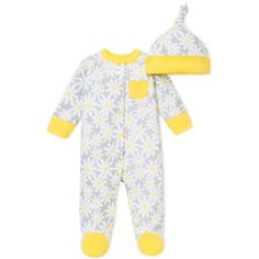 Offspring 2-Piece Daisy Footie and Hat Set - buybuyBaby.com