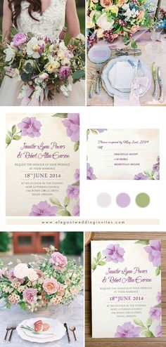 Pretty Lavender Floral Watercolor Wedding Invitations EWI379