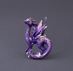 Dragon sculpture dragon figurine fantasy creature OOAK fairy dragon purple dragon with butterflies fantasy sculpture Handmade item Materials: wire, foil, air drying clay, acrylic paint, varnish. From Ukraine