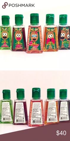 """(5) ULTRA RARE Reindeer Christmas Pocketbacs! 5 Brand new Bath & Body Works Pocketbac hand sanitizers. From the 2010 """"Santa's Reindeer"""" Collection. All are $1.50 labels! Listing is for all Pocketbacs pictured. Rare & discontinued Style! 1 fl oz each. Scents: coner's ginger mint, Dasher's Apple mint, Rudy's cocoa mint, Santa's mallow ( marshmallow ) mint, Vixen's sweet mint Other"""