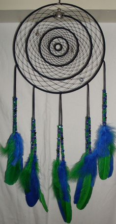 Huge dream catcher in green and blues, made for a nursery.  Custom order-went to PA