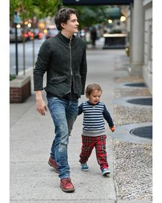 Orlando Bloom with little Flynn in tow.