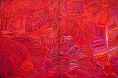 From Seva Frangos Art: Sonia Kurarra, Martuwarra (2013)  atelier acrylic paint on 14oz canvas  diptych 120 x 180cm (each panel 120 x 90) Courtesy of the artist, Mangkaja
