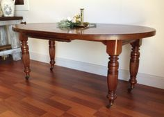 Antique Oval Extension Table - Fluted and Turned Legs