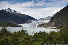 """IDEA: juneau alaska  A tip: While the cruise lines sell excursions to the Mendenhall Glacier on charter buses, often with a brief bus tour of the city, wait until you get to Juneau and take the """"Blue Bus"""". There are several school buses, painted blue (obviously), that run from the cruise ship docks to the Glacier and back, departing at each end about every half hour. You'll see pretty much everything you'd see on the """"tour"""", but the cost for a ticket on the Blue Bus is about 8 bucks return."""
