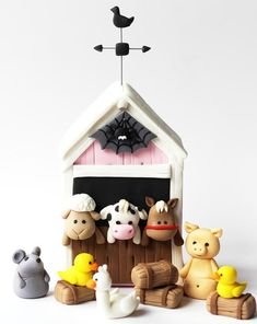 Farm Animals Fondant Set - Fondant Sheep - Fondant Cow - Fondant Horse - Farm…