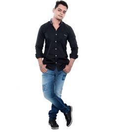 Grey Booze Black Casual Slim Fit Shirt