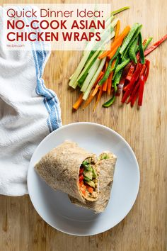 Use a rotisserie chicken or put leftovers to good use with these no-cook Asian chicken and veggie wraps—perfect for a weeknight dinner!
