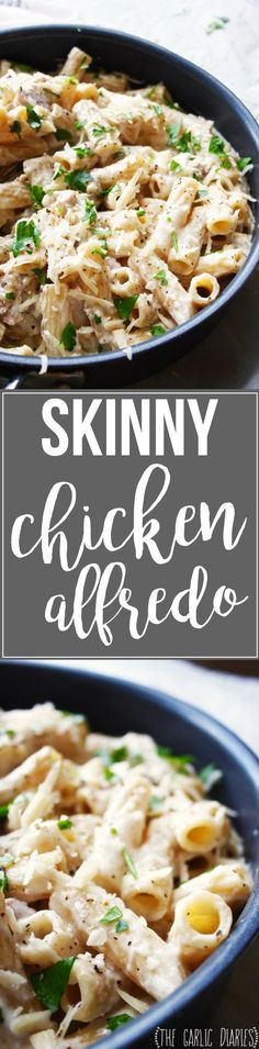 Skinny Chicken Alfredo - Less than 500 calories per serving but tastes just as…