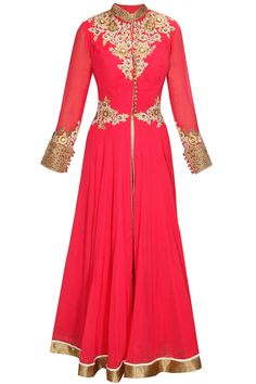 Rama red embroidered anarkali with white palazzos by Matsya.  Shop now: http://www.perniaspopupshop.com/designers/matsya  #shopnow #perniaspopupshop #matsya #red #indianfashion #ethnic