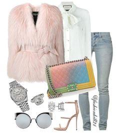 Pink Day DETAILS: Fur #Balmain Shirt #Gucci Jeans #Cheapmonday Bag #Chanel Frames #Fendi #Styledbyfashionkill21