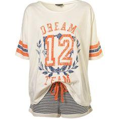 Dream Tee And Shorts Pj Set ($36) ❤ liked on Polyvore featuring intimates, sleepwear, pajamas, pijamas, tops, pyjamas, shirts, women, cotton sleepwear and cotton pajama set