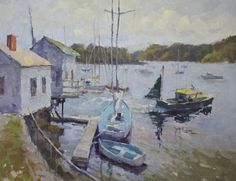 New England plein air and studio 20 x 24 oil paintings by Brent Jensen called Leaving the Harbor.