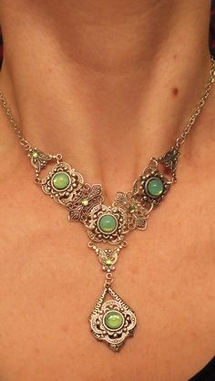 Victorian green opal necklace for sale on Etsy at Lainisjewelry.Click through to purchase.  On sale now for $30!