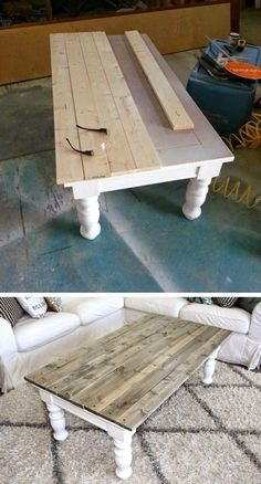 25 Most Creative DIY Furniture Refinements - Farmhouse Coffee Table Makeover # Furniture # ., 25 Most Creative DIY Furniture Refinements - Farmhouse Coffee Table Makeover # Furniture - Coffee Table Makeover, Diy Coffee Table, Kitchen Table Makeover, Painted Coffee Tables, Refurbished Coffee Tables, Diy Table Top, Coffee Table Upcycle Ideas, Coffee Table Refinish, Ideas For Coffee Tables