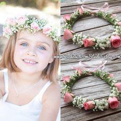 Fresh Flower crowns Flower girl wreath crown by BellasBloomStudio
