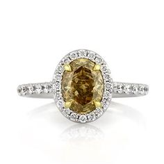 2.05ct Fancy Dark Brown Yellow Oval Cut Diamond Engagement Anniversary Ring
