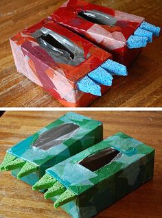 10 Easy Crafts For Kids To Make - Dino shoes made from tissue boxes. evy would love these! i guess i need to buy this size tissue box - Dinosaur Activities, Craft Activities For Kids, Preschool Crafts, Toddler Activities, Classroom Crafts, Craft Ideas, Dinosaur Crafts Kids, Dinosaur Party Games, Dinosaur Projects