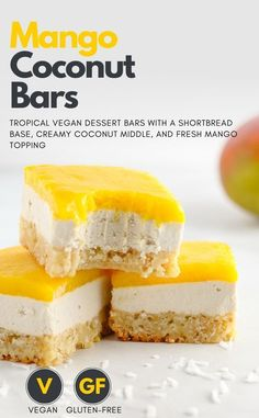 This mango coconut bar recipe is the perfect summer dessert. Vegan and gluten-fr… This mango coconut bar recipe is the perfect summer dessert. Vegan and gluten-free! A flaky and toasty shortbread base, creamy coconut middle, and fresh mango topping. Summer Dessert Recipes, Vegan Sweets, Healthy Dessert Recipes, Gourmet Recipes, Vegan Recipes, Easter Desserts, Mango Recipes Baking, Recipes With Mango, Coconut Recipes Healthy