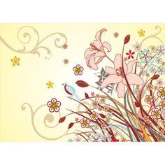 C038P4 Fototapeta: Maľované kvety (2) - 184x254 cm Stencil, Home Decor, Dioramas, Decoration Home, Room Decor, Stenciled Table, Home Interior Design, Stenciling, Home Decoration