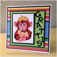 Randis hobbyverden: Barnekort med ape