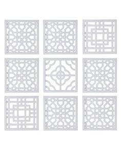 Nine Geometric Fretwork Wall Decor Panels - Horchow