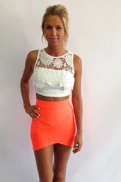 White crop/laced shirt, high waisted neon orange pencil skirt