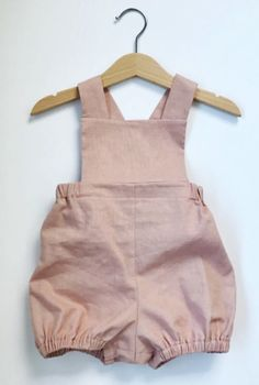 Handmade Rose Pink Linen & Cotton Romper | EmmiesRoom on Etsy https://presentbaby.com