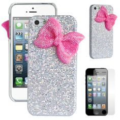 Pandamimi ULAK(TM)�Deluxe Sweety Girls Case Cover Decorated Bling Glitter Bow for iPhone 5 (Silver/Pink)