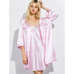 Embroidered Babydoll and Fitting Wrap Robe ($31) ❤ liked on Polyvore featuring intimates, robes, embroidered bath robe, dressing gown, embroidered bathrobes, embroidered robes and bath robes