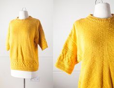 Vintage Yellow Sweater / Boxy Oversized 80s Sweater Cable Knit 80s Pullover 1980s Yellow Top Classic Minimalist Mustard Yellow Goldenrod by BlueHorizonVintage on Etsy