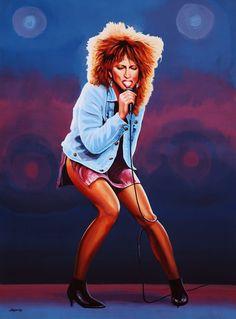 Nieuw in mijn Werk aan de Muur shop: The Queen of Rock Tina Turner Schilderij