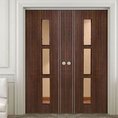 Sierra 3 Light Walnut Door Pair with Clear Safety Glass is Fully Prefinished. #walnutdoorpair #internalwalnutdoorpair #doublewalnutdoor