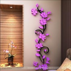 Fashion PVC Flower Mirror Home Art DIY Wall Sticker Living Room Decal Decor wallpaper adesivo de parede purple pink flower(China (Mainland))