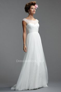 cap sleeve a-line soft net wedding dress with lace illusion neckline
