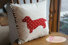 Sausage Dog/ Dachshund Red Spot Applique Cushion with by Jessalli, £22.00