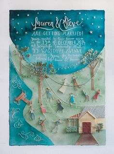 & Steve's Central Coast Wedding Watercolour wedding invitation made by the bride - Lauren Merrick IllustrationWatercolour wedding invitation made by the bride - Lauren Merrick Illustration Diy Wedding Invitation Kits, Watercolor Wedding Invitations, Wedding Stationary, Invitation Design, Illustrated Wedding Invitations, Wedding Illustration, Illustration Fashion, Flyer, Wedding Designs