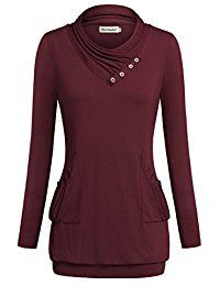 New Nandashe Women Long Sleeve Cowl Neck Sweaters Knitted Pleated Pocket Tunic Tops online. Find the perfect Futurino Tops-Tees from top store. Sku EMBY58265NWXD94377
