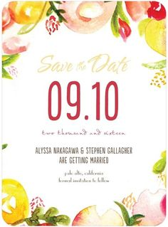 Summer Circlet - Signature White Textured Save the Date Cards - Mikan Ink - Mustard - Yellow : Front