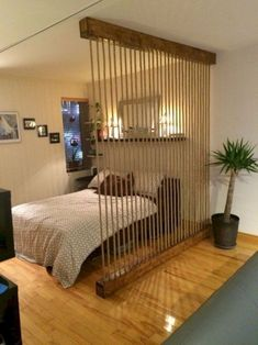 Awesome Room Divider Ideas to Make your Limited Space looks Amazing Interior Des.:separator:Awesome Room Divider Ideas to Make your Limited Space looks Amazing Interior Des. Loft Style, Apartment Room, Apartment Decor, Home, Bedroom Design, Studio Apartment Divider, Diy Room Divider, Home Decor, Room
