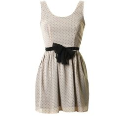 LOVE NUDE POLKA DOT TIE DETAIL CUT OUT BACK DRESS ❤ liked on Polyvore