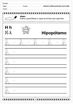 Alfabeto Cursivo - Letra H - Maiúscula - Escola Educação